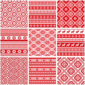 Vector set collections of nine 9 red and white ornamental ethnic seamless patterns