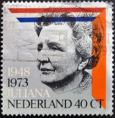 HOLLAND - CIRCA 1973: A stamp printed in the Netherlands shows  Queen Juliana