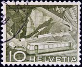 SWITZERLAND - CIRCA 1949: A stamp printed in Switzerland shows Mountain Railway circa 1949