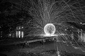 Steel Wool Spinning sphere 30 second exposure. Black & White