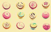 Mural of cupcakes vintage