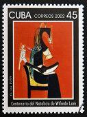 CUBA - CIRCA 2002: A stamp printed in cuba shows I am by Wifredo Lam circa 2002