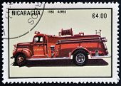 NICARAGUA - CIRCA 1983: a stamp printed in Nicaragua shows Fire Engine circa 1983