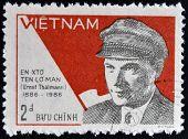 VIETNAM - CIRCA 1987: A stamp printed in Vietnam shows portrait of Ernst Thalmann circa 1987