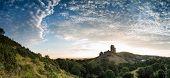 Beautiful Summer Sunrise Over Panorama Landscape Of Medieval Castle Ruins