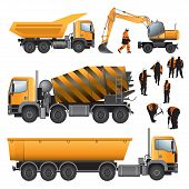 stock photo of construction machine  - Construction machines and workers - JPG