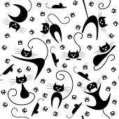 picture of black cat  - Seamless pattern with black cats - JPG