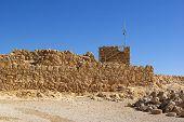 pic of zealots  - Ruins of ancient judaic Masada fortress Israel - JPG