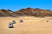 pic of  jeep  - Landscape of Sahara desert with jeeps for safari - JPG