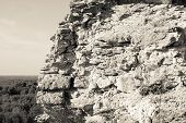 Monochrome Ruins Of An Ancient Stone Wall