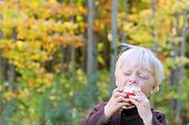 Baby Eating Fruit At Apple Orchard