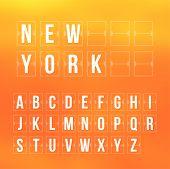 Outline scoreboard letters and symbols flat alphabet panel