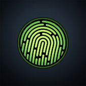 stock photo of neon green  - Fingerprint identification system - JPG
