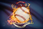 Baseball Ball With Flag On Background Series - Michigan