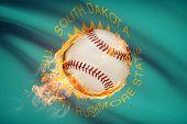 Baseball Ball With Flag On Background Series - South Dakota