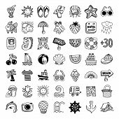 sketch icon set of summer theme, vector illustration