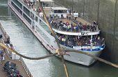 Gabcikovo, Slovakia - November 01, 2013: Tourist Ship In The Shiplock Of The Gabcikovo Dams