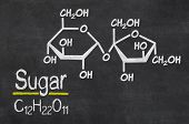 Blackboard with the chemical formula of Sugar