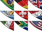 Set of different state flags including USA, UK, Germany, Italy, RSA, etc.