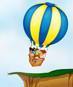Illustration of kids in a balloon