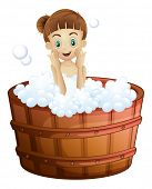 Illustration of a pretty young lady taking a bath on a white background