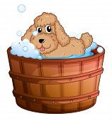 Illustration of a dog taking a bath on a white background