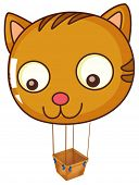 Illustration of a big cat balloon on a white background