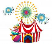 Illustration of a clown sitting above the ball at the carnival on a white background