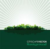 green cityscape overprint background