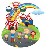 Illustration of a happy family at the carnival on a white background