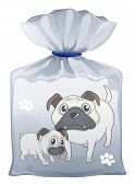 Illustration of a plastic pouch with a picture of two cute dogs on a white background