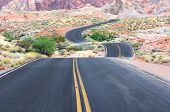 picture of valley fire  - A road runs through it in the Valley of Fire State Park near Las Vegas Nevada - JPG