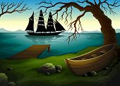 Illustration of a black ship at the sea across the boat under the tree
