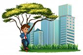 Illustration of a man under the tree across the tall buildings on a white background