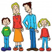 parents and kids cartoon illustration