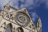 Postcard view of York Minster Rose window. York, North Yorkshire, England, UK.