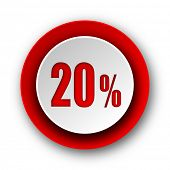 20 percent red modern web icon on white background