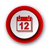 calendar red modern web icon on white background