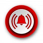 alarm red modern web icon on white background