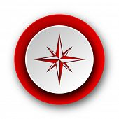 compass red modern web icon on white background