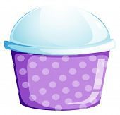 Illustration of an empty disposable cupcake container on a white background