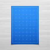 Blue isolated square grid with shadow isolated on wood texture