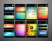 Mobile interface elements with colorful wallpaper, design for applications