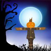 Horrible puppet of pumpkin binding on cross in dangerous night view.