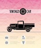 Retro pickup, truck car, vintage outline style