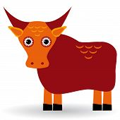 Cartoon Illustration Of Asian Yak Bull. Vector