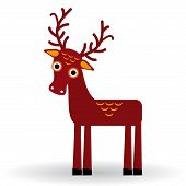 Funny Deer On A White Background. Vector