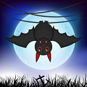 Horrible night scene with scary hanging bat infront of moon on blue background.