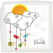 Hanging fire crackers and stars on cloud shape with a sun and stylish text of Diwali for Diwali cele