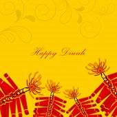 Deepawali celebration with exploding crackers and stylish text of Happy Diwali on shiny floral decorated yellow background.